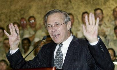 Don Rumsfeld celebrates his glorious victory over a mighty enemy.
